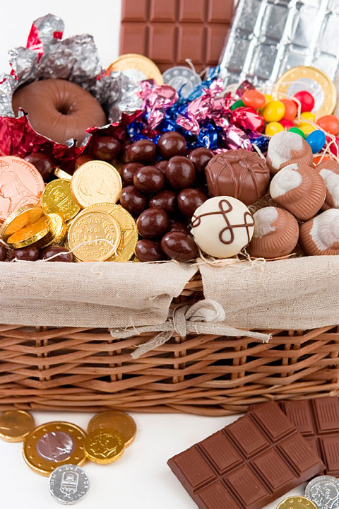 chocolate gifts in a wicker basket