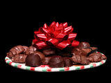 chocolate gift tray with red ribbon